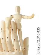 Купить «Деревянная фигура маленького человека на большой руке, изолированно на белом», фото № 2316435, снято 5 марта 2010 г. (c) Losevsky Pavel / Фотобанк Лори