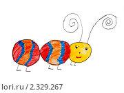 Купить «Гусеница. Детский рисунок», иллюстрация № 2329267 (c) Elena Rostunova / Фотобанк Лори