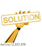 """Купить «Табличка с надписью """"Solution""""в руке робота», иллюстрация № 2337379 (c) Данила Большаков / Фотобанк Лори"""
