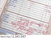 Купить «Страница школьного дневника с плохими оценками и с записью о вызове родителей к директору», эксклюзивное фото № 2341047, снято 3 февраля 2011 г. (c) Игорь Низов / Фотобанк Лори