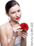 Купить «Девушка с цветком герберы», фото № 2341223, снято 17 декабря 2010 г. (c) Serg Zastavkin / Фотобанк Лори
