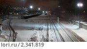 Москва. Ночной вид на железную дорогу с Песчаного моста. Стоковое фото, фотограф Сергей Соболев / Фотобанк Лори