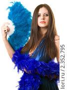 Купить «Молодая женщина в голубом платье c веером», фото № 2352795, снято 18 ноября 2009 г. (c) Сергей Сухоруков / Фотобанк Лори