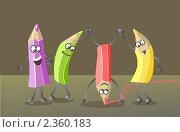 Забавные цветные карандаши. Стоковая иллюстрация, иллюстратор Галина Томина / Фотобанк Лори