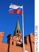 Купить «Москва. Российский флаг на фоне башни кремля», эксклюзивное фото № 2361199, снято 27 марта 2009 г. (c) lana1501 / Фотобанк Лори
