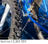 Купить «Колесо горного велосипеда в снегу», фото № 2361551, снято 5 января 2011 г. (c) Тарханов Николай Алексеевич / Фотобанк Лори