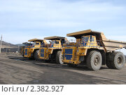 Купить «Гигантские грузовики для перевозки угля», фото № 2382927, снято 2 апреля 2008 г. (c) Александр Подшивалов / Фотобанк Лори