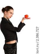 Купить «Девушка в черном пиджаке с помидором на ладони», фото № 2386727, снято 19 августа 2018 г. (c) Corwin / Фотобанк Лори