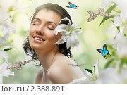 Купить «Девушка среди лилий и бабочек», фото № 2388891, снято 10 февраля 2011 г. (c) Константин Юганов / Фотобанк Лори