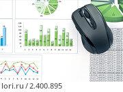 Купить «Компьютерная мышь на диаграммах», фото № 2400895, снято 18 февраля 2020 г. (c) Сергей Дашкевич / Фотобанк Лори