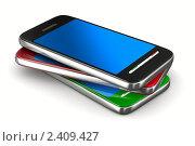 Купить «Три мобильных телефона на белом фоне», иллюстрация № 2409427 (c) Ильин Сергей / Фотобанк Лори