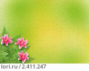Фон с розовыми лилиями. Стоковая иллюстрация, иллюстратор Lora Liu / Фотобанк Лори