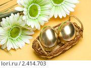Купить «Пасхальные золотые яйца», фото № 2414703, снято 4 апреля 2020 г. (c) Allika / Фотобанк Лори