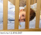 Купить «Малыш в кроватке», фото № 2416047, снято 17 марта 2011 г. (c) Юлия Подгорная / Фотобанк Лори
