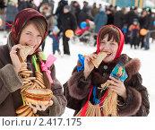 Купить «Девушки празднуют Масленицу», фото № 2417175, снято 6 марта 2011 г. (c) Яков Филимонов / Фотобанк Лори