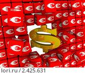 Купить «Символ доллара разбивает стену из кубиков с символами евро», иллюстрация № 2425631 (c) WalDeMarus / Фотобанк Лори