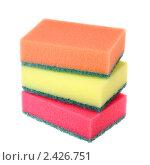 Разноцветные кухонные губки на белом фоне. Стоковое фото, фотограф Pshenichka / Фотобанк Лори