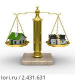 Дом и деньги на весах. Стоковая иллюстрация, иллюстратор Ильин Сергей / Фотобанк Лори