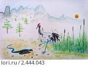 Журавль и змея. Стоковая иллюстрация, иллюстратор Заварзин Олег / Фотобанк Лори