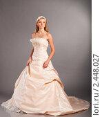 Купить «Невеста в свадебном платье», фото № 2448027, снято 21 августа 2018 г. (c) Сергей Петерман / Фотобанк Лори
