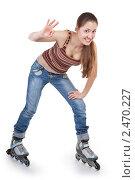 Купить «Спортивная девушка на роликах», фото № 2470227, снято 9 мая 2010 г. (c) Алексей Сергеев / Фотобанк Лори