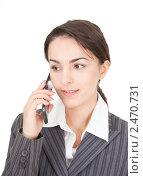 Купить «Портрет деловой женщины с мобильным телефоном», фото № 2470731, снято 26 февраля 2011 г. (c) Алексей Сергеев / Фотобанк Лори