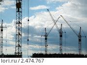 Силуэты башенных кранов на фоне неба. Стоковое фото, фотограф Денис Веселов / Фотобанк Лори