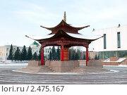 Буддийская пагода молитв на площади Арата в Кызыле - столице Республики Тува, Россия (2011 год). Стоковое фото, фотограф Алексей Зарубин / Фотобанк Лори
