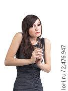 Купить «Испуганная девушка на белом  фоне», фото № 2476947, снято 19 февраля 2011 г. (c) Черников Роман / Фотобанк Лори