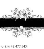 Купить «Баннеры с цветами лилии в черно-белых цветах», иллюстрация № 2477543 (c) Татьяна Петрова / Фотобанк Лори