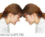 Купить «Женщина столкнулась лбом с собой на белом фоне», фото № 2477735, снято 5 июля 2020 г. (c) pzAxe / Фотобанк Лори