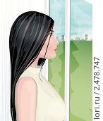Купить «Девушка у окна. Векторная иллюстрация.», иллюстрация № 2478747 (c) Надежда Стародубцева / Фотобанк Лори