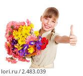Купить «Портрет девочки с букетом цветов», фото № 2483039, снято 20 февраля 2011 г. (c) Gennadiy Poznyakov / Фотобанк Лори