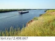 Самоходная баржа на реке. Стоковое фото, фотограф Валерий Шевяков / Фотобанк Лори
