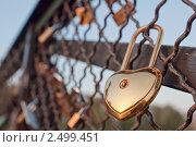 Купить «Замок в форме сердца на металлическом ограждении», фото № 2499451, снято 11 апреля 2011 г. (c) Игорь Соколов / Фотобанк Лори