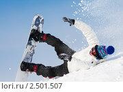 Купить «Сноубордист падает», фото № 2501507, снято 22 октября 2018 г. (c) Дмитрий Калиновский / Фотобанк Лори