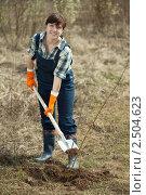 Купить «Женщина работает в саду», фото № 2504623, снято 28 апреля 2011 г. (c) Яков Филимонов / Фотобанк Лори
