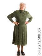 Купить «Пожилая женщина на белом фоне», фото № 2508307, снято 26 июня 2019 г. (c) Воронин Владимир Сергеевич / Фотобанк Лори