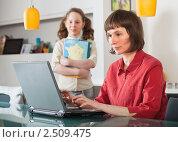 Купить «Мама с дочкой дома за компьютером», фото № 2509475, снято 6 марта 2011 г. (c) Михаил Лавренов / Фотобанк Лори