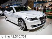 Купить «Серый автомобиль BMW 523», фото № 2510751, снято 25 августа 2010 г. (c) Александр Косарев / Фотобанк Лори