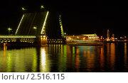 Санкт-Петербург: разведенный Дворцовый мост и стрелка Васильевского острова (2008 год). Редакционное фото, фотограф Dmitry S. Marshavin / Фотобанк Лори