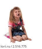 Купить «Девочка с длинными волосами плачет», фото № 2516775, снято 12 июля 2018 г. (c) Гурьянов Андрей / Фотобанк Лори