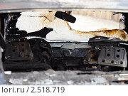 Купить «Обугленный салон сгоревшего легкового автомобиля», фото № 2518719, снято 27 апреля 2011 г. (c) Илья Андриянов / Фотобанк Лори