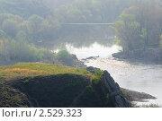 Купить «Вид на реку с перекатом и подвесным мостом с высокого холма», фото № 2529323, снято 1 мая 2011 г. (c) Борис Панасюк / Фотобанк Лори