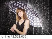 Купить «Девушка под зонтиком в потоках воды», эксклюзивное фото № 2532635, снято 15 мая 2011 г. (c) Яна Королёва / Фотобанк Лори