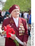 Купить «Женщина ветеран с цветами и наградами», фото № 2534243, снято 9 мая 2011 г. (c) Ермилова Арина / Фотобанк Лори