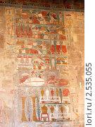 Купить «Древние фрески на стене в храме Хатшепсут, Луксор, Египет», фото № 2535055, снято 18 ноября 2010 г. (c) Михаил Коханчиков / Фотобанк Лори