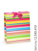 Купить «Полосатый подарочный пакет», фото № 2549419, снято 24 апреля 2010 г. (c) Elnur / Фотобанк Лори