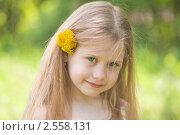 Купить «Обаятельная девочка с одуванчиками», фото № 2558131, снято 18 мая 2011 г. (c) Alexandra Ustinskaya / Фотобанк Лори