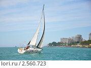 Купить «Крейсерская яхта закладывает галс на фоне побережья курорта Сочи», фото № 2560723, снято 28 мая 2011 г. (c) Анна Мартынова / Фотобанк Лори